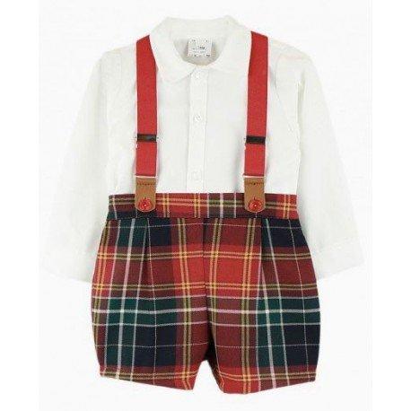 Conjunto bebé pantalón cuadros y camisa