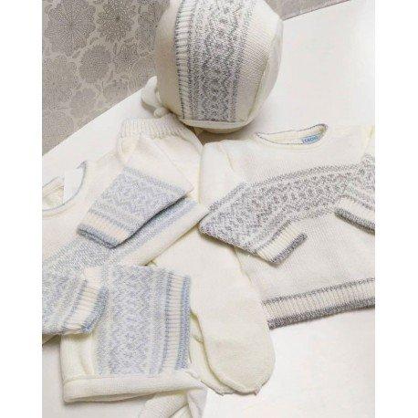 Conjunto bebe lana con grecas grises
