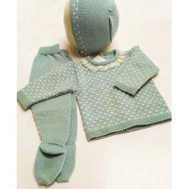 conjunto bebé verde punto