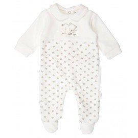 Pijama bebe beige Corazones