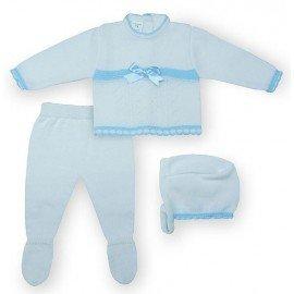 Conjunto punto bebé blanco y celeste