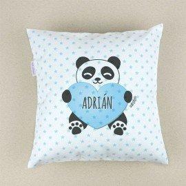 Cojín bebé piqué Panda corazón