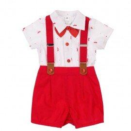 Conjunto bebé niño rojo Pajarita