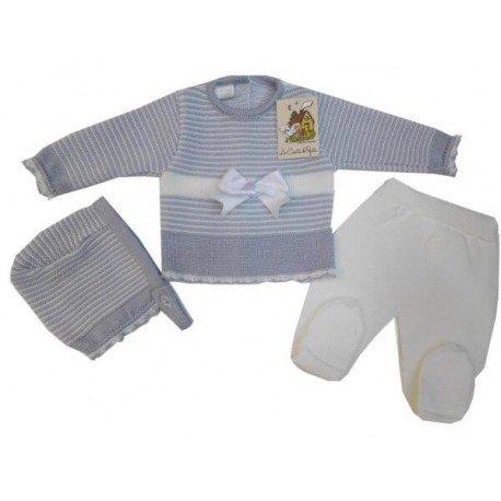 Conjunto bebé perlé gris Rayas
