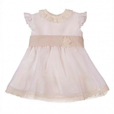Vestido bebé niña ceremonia beige