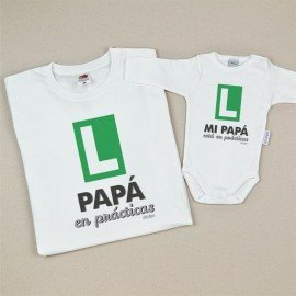 Pack regalo Camiseta+Body Papá en prácticas