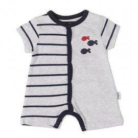 Pelele corto bebé gris Rayas