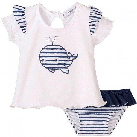 Conjunto bañador bebé niña ballena