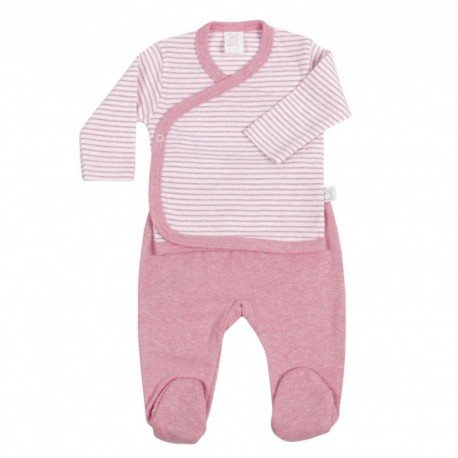 Conjunto bebé prematuro rosa Rayas