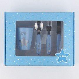 Set vaso y cubiertos bebé Azul