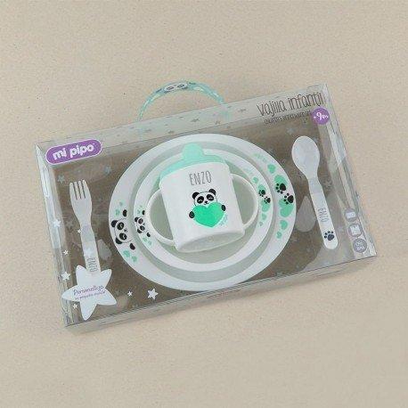 Cajita regalo Vajilla bebé personalizada Panda