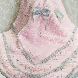Toquilla bebé lana Rosa y Gris