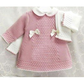 Vestido bebé niña rosa con rebeca