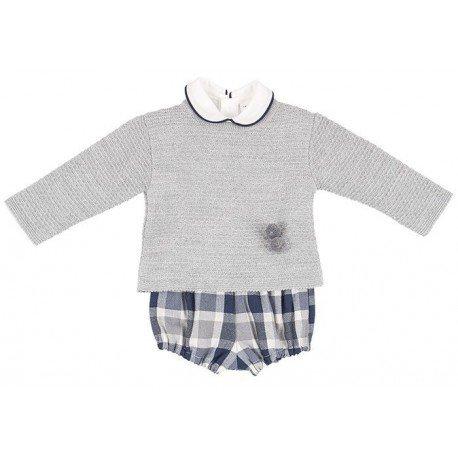 Conjunto bebé niño gris Cuadros