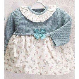 Vestido bebé niña Lana Flores verde