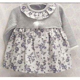 Vestido bebé niña Lana Flores gris