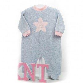 Pijama bebé niña gris Estrella Rosa