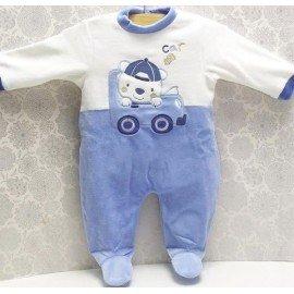 Pijama bebé niño Coche azul