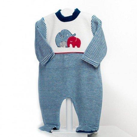 Pijama bebé Familia Elefantes
