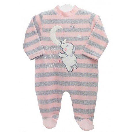 Pijama bebé niña rayas Elefante