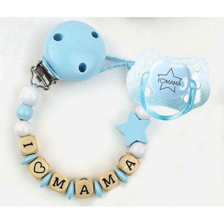 Pack bebé chupetero azul I love