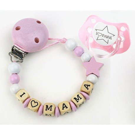 Pack bebé chupetero rosa I Love