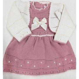 Vestido lana bebé rebeca Marfil