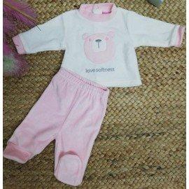 Pijama bebé niña Osa rosa