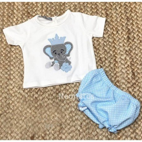 Conjunto bebé niño Elefante Corona