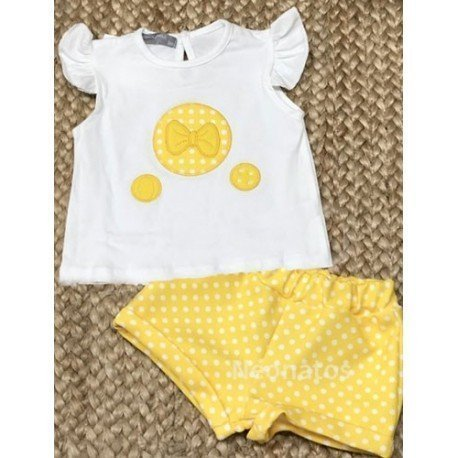 Conjunto bebé niña Lazo Amarillo