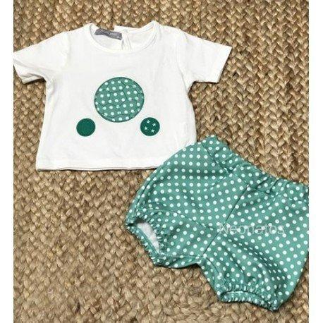 Conjunto bebé niño Lunares Verdes