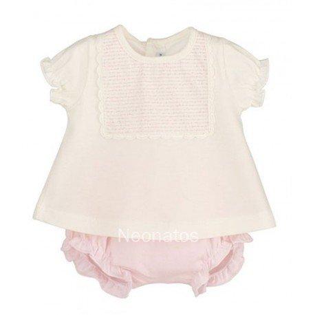 Conjunto bebé niña rosa Babero