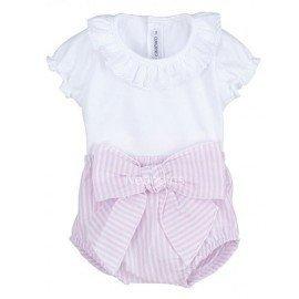 Conjunto bebé niña rosa Lazo
