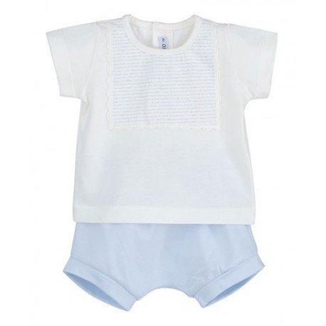 Conjunto bebé niño azul Babero