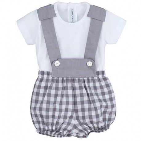 Conjunto peto bebé gris Cuadros
