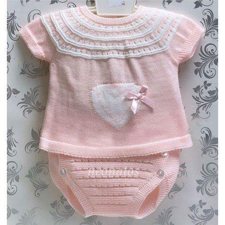 Conjunto perlé bebé niña Corazón