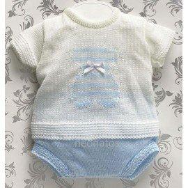 Conjunto bebé perlé blanco Osito