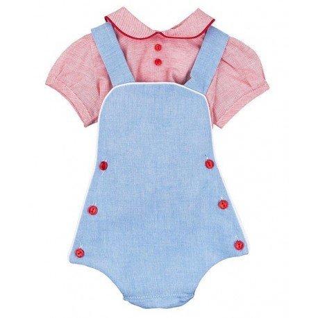 Ranita peto bebé con camisa roja Elías