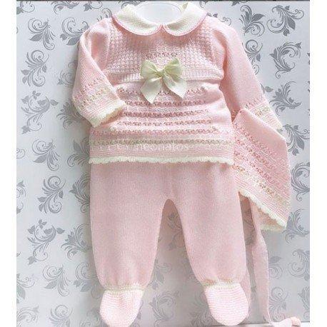 Conjunto bebé perlé Lazo