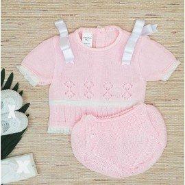 Conjunto hilo bebé rosa