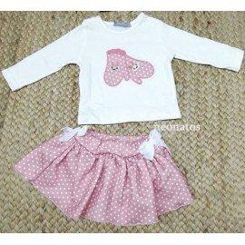 Conjunto bebé niña falda Manoplas