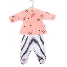 Pijama bebé niña invierno Corazones