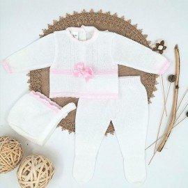 Conjunto bebé lana lazo rosa