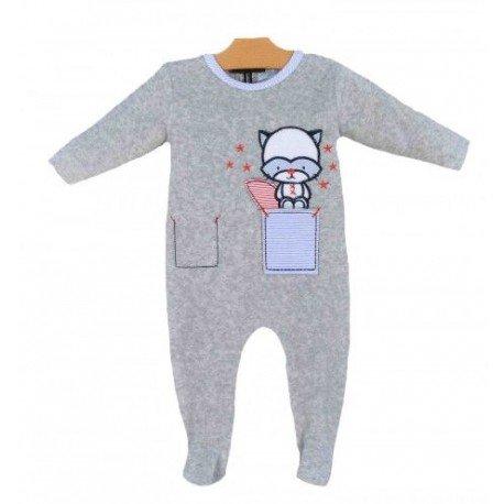 pijama bebe gris mapache pilerias