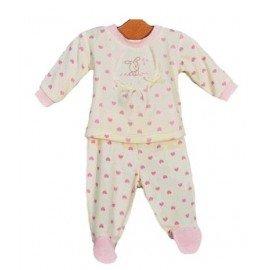 Pijama beige con corazones rosas pillerias