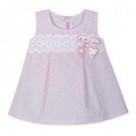 Vestido bebe rosa cenefa blanca