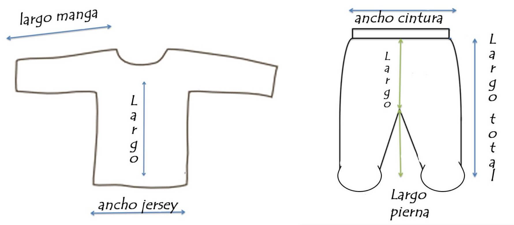 medidas pijamas bebe de dos piezas